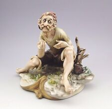 "RARE Antonio Borsato Italy Porcelain Figurine ""Seated Man with Fish"""