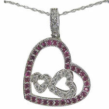 Heart Necklace Diamond Pendant With Pink Sapphires And Diamonds In 14k Gold