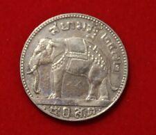 Thailand - 50 Satang 1929 Silber König Prajadhipok Elefant Selten