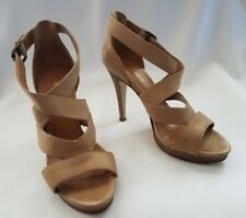 NINE WEST Lt. Tan Nude Strappy Ankle Strap Stiletto Sandals Closed Back 6 M NICE