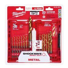 Milwaukee Drill Bit Kit 23 Piece Power Tool Drilling TITANIUM Hex Imperial