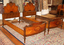 Best Pair French Inlaid Satinwood & Burled Walnut Twin Single Beds 1920 RESTORED
