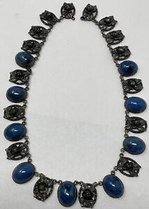 Vintage Peruzzi Sterling Silver Lapis Lazuli Link Necklace Missing Clasp (52.5g)