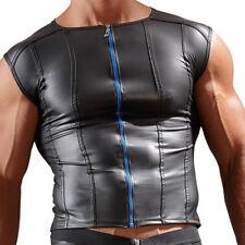 Herren Zip T-Shirt Neopren Optik Wetlook S M L XL 2XL Raglan Glanz Tank Top