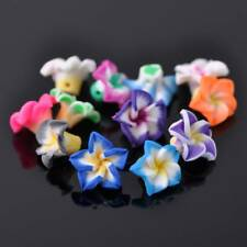 20pcs 15mm Random Mixed Color Flower Polymer Clay Loose Spacer Beads Charms