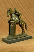 Vintage Signed Jockey Horse Racing Bronze Sculpture Art Statue Figure Figurine