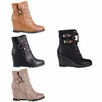 Women Fur Lined Studded Wedge Ankle Boots High Heel Ladies Winter Shoes Size 3-8