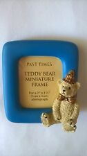 PAST TIMES MINIATURE FRAME TEDDY BEAR PHOTO PICTURE BLUE FRAME BEIGE BEAR HAT