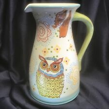 Dutch Wax floral pattern Owl Pitcher textural design Coastline Imports New!