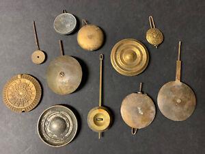 Lot of 11 Antique Vintage Clock Mantel Pendulum Bob Parts