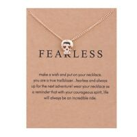 Necklace Skull Fearless Pendant Chain Bronze Rose Gold Gift Wish Card