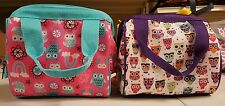 2 Lunch Boxes Fit and Fresh Riley Insulated Lunch Bag, Hoot Owl, White and pink