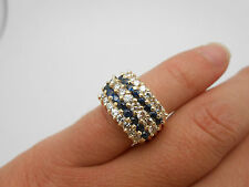 Heavy 14k Yellow Gold Natural Blue Sapphire & Diamond 5 Row Wide Band Ring Sz 6