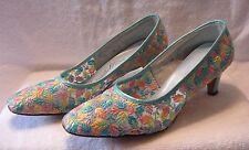 MID CENTURY Shoes VINTAGE Cosmopolitans Heels Pumps Embroidery Leaf 8.5 N    N-7