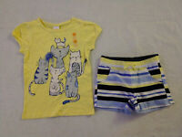 NWT Gymboree Away We Go Kitty Cat Tee Stripe Shorts Outfit 4T Toddler Girl
