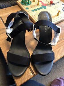 New Look Black Suede High Heel Shoes Sandals - Size 5 (38) UK - NEW £34.99