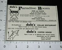 1963 Vintage Print Ad Atlanta Georgia Dale's Paradise Room Cellar Restaurant