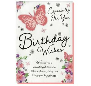 Open Birthday Card -  Butterfly Flowers Floral Female Ladies Lady Women For Her