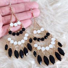 Vintage Womens Bohemian White Black Beads Gem Chains Dangle Drop Hook Earrings