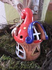 Keramik Windlicht Haus klei Zapfen Weihnachten Advent Pilz Dekoration Handarbeit