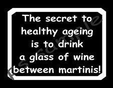 HEALTHY AGEING - DRINK WINE - Flexible Fridge MAGNET