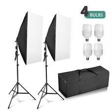 4 x 25W Continuous Lighting Softbox Photography Studio Soft Box Light Stand Kit