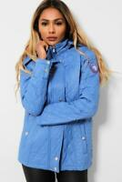 SPRING JACKET HOODED TRENCH PARKA WOMENS QUILTED RAINCOAT LIGHTWEIGHT S TO XL