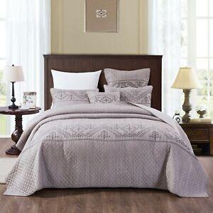 DaDa Bedding Cottage Lavender Grey Embroider Quilted Coverlet Bedspread Set Twin