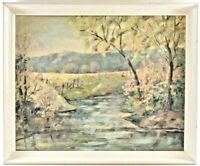 VTG Regionalism Spring Landscape Oil Painting Trees Creek American Impressionist