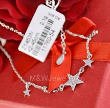 SOLID 925 STERLING SILVER RHODIUM PLATED NECKLACE STARS WITH ZIRCONIA