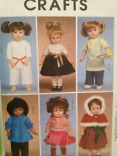 """McCalls Sewing Pattern 6006 18"""" Doll Clothes Jacket Dress Pants Capelet UC"""