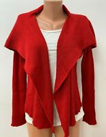 IVAN GRUNDAHL size S / M / L 100%MERINO WOOL Cardigan Waterfall Knitted Red