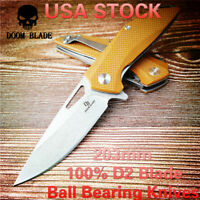 D2 Blade Ball Bearing Knives G10 Handle Folding Camp Hunting Tool Kitchen Knife