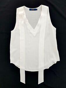 Polo Ralph Lauren Ivory V-Neck Silk Tank Top Size 0 Womens