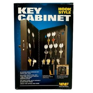 Key Cabinet 28 Hooks Hold Style Steel Black Paint Finish by MMF Industry New