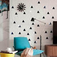 EG_ 100Pcs 3D Triangle Mosaic Mirror Effect Wall Sticker Home Room DIY Decor Goo
