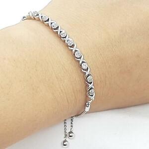 Genuine .34ctw H-SI Diamond 925 Sterling Silver Bolo Bracelet 5.9g