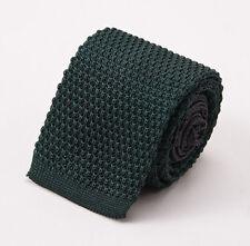 NWT $205 ERMENEGILDO ZEGNA 'Duo' Reversible Dark Forest Green Knit Silk Tie