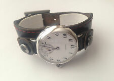 Military Trench Watch 15 Jewels Swiss BLACK'S museum WW1 Silver Mint Condition