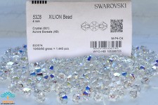 3mm/4mm-001AB Swarovski Elements #5328 Xilion Crystal Bicone Bds Factory Pack