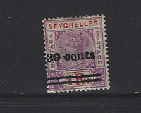 SEYCHELLES 1902 SCOTT 35 WITH SURCHARGE USED GOOD CONDITION  FREE USA SHIPPING