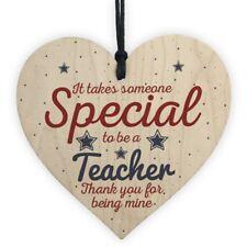 2PCS Handmade Wooden Hanging Heart Gift Teacher Leaving Present Thank You Gift