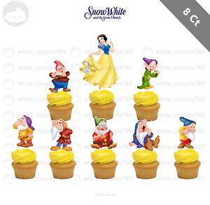 8 Disney Snow White Seven Dwarfs Cupcake Cake Topper Food Favor Party Birthday