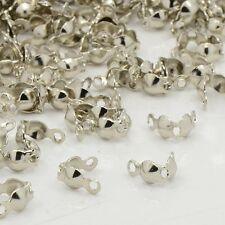 100x Iron End Silver Plated Open 2 Rings Clamshells Calottes Jewellery Making