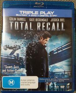 TOTAL RECALL: 2012 (TRIPLE PLAY BLU- RAY + DVD + DIGITAL, 4-Disc Set) LIKE NEW..