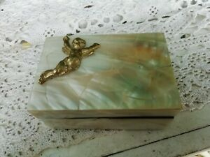 Vintage Small Black Lacquer & Mother of Pearl Box With Brass Cherub