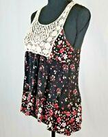 SM Black Floral Crochet Shirt Tank Top Bohemian Peasant Hippie