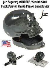 Jac Zagoory #113BP / Stealth Skull Black Plate Pewter Pen or Card Holder / USA