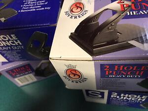 New - Sovereign 2 Hole Punch Executive Heavy Duty 40 Sheet Black Bargain $ Cheap