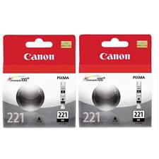 Twin Genuine Canon 2946B001AA CLI-221BK Ink Cartridge Black 620 980 990 860 870